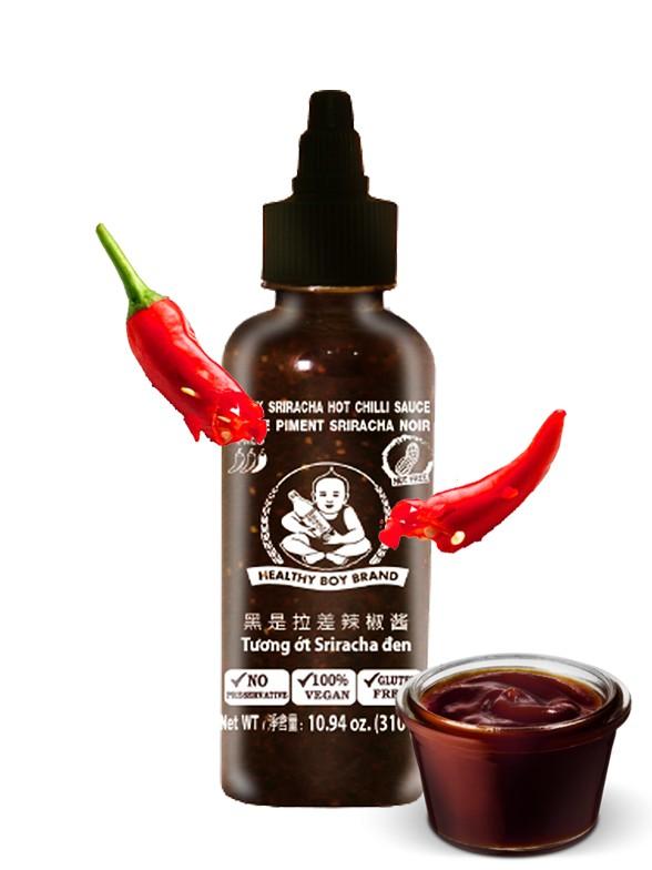 Salsa Black Sriracha Suave | Sin Gluten 272 ml.