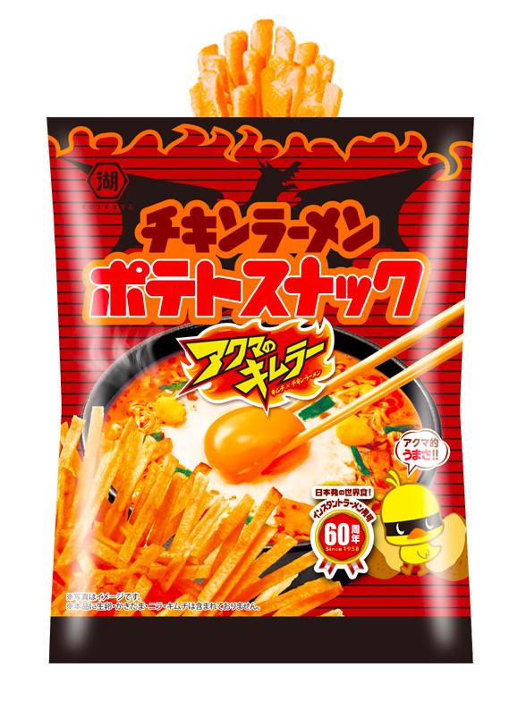 Patatas Fritas en Tiras Sabor Chikin Ramen Akuma Kimura PICANTE 50 grs   Pedido GRATIS!