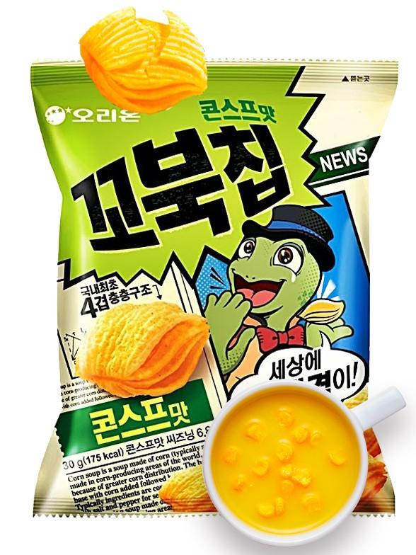 Snack Coreano Kkobuk con Sabor a Crema de Maíz   80 grs