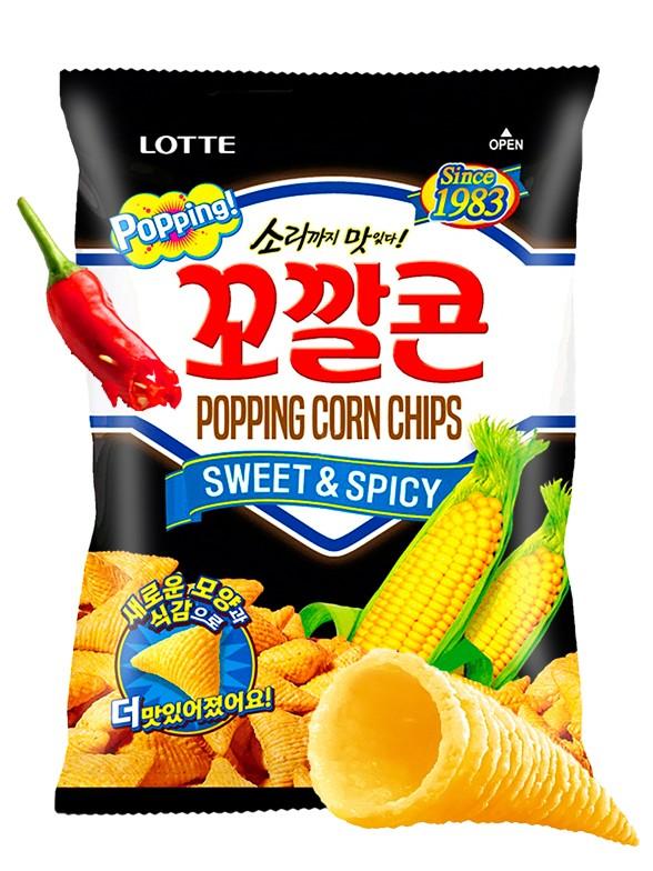 Snack Coreano de Maíz Dulce a la Salsa Gochujang Picante   Lotte 72 grs.
