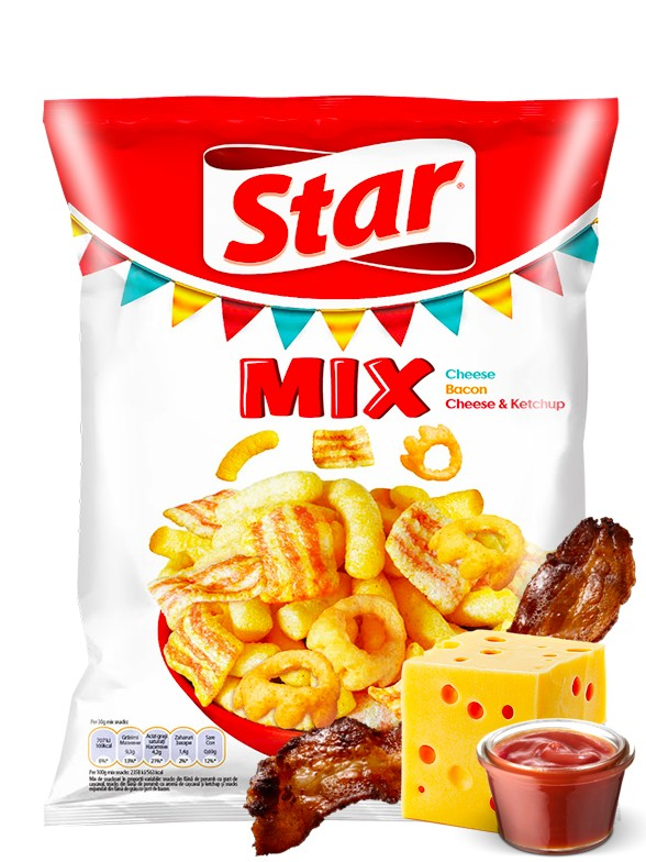 Snack Mix Queso, Bacon, y Queso con Ketchup | Star Pepsi 90 grs.