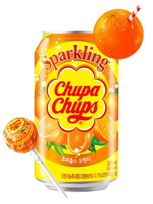 Refresco Coreano Sabor Chupa Chups Naranja 345 ml.