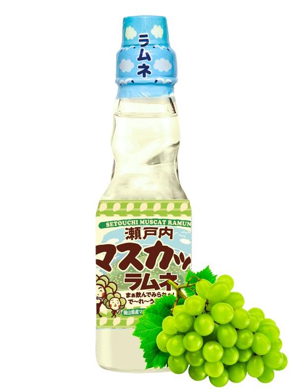 Soda Ramune Sabor Uva Moscatel 200 ml.
