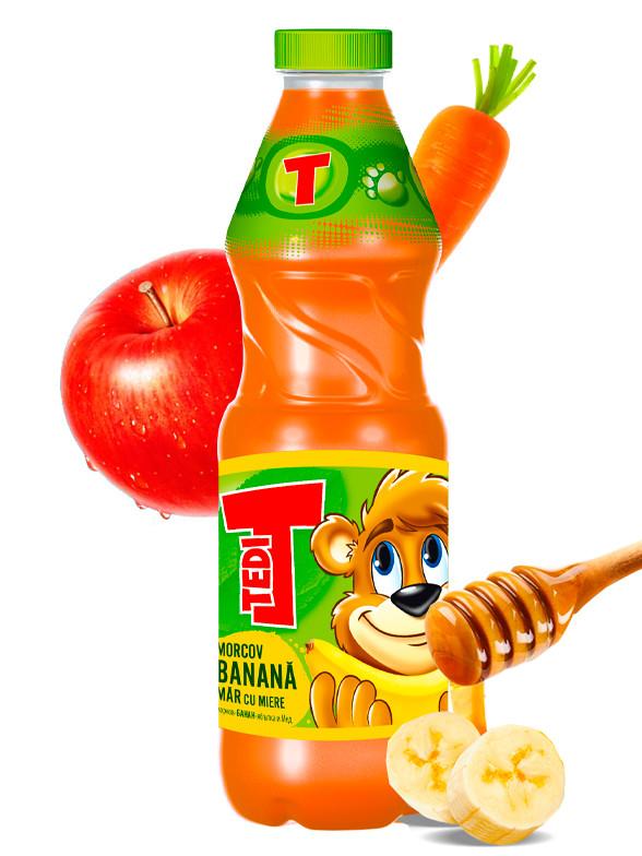 Zumo de Zanahoria, Plátano y Manzana con Miel 900 ml. | OFERTA!!