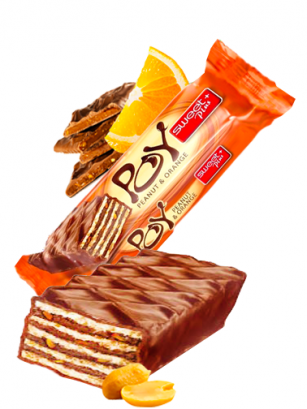 Barrita de Barquillo Chocolateada con Naranja y Cacahuetes 45 grs
