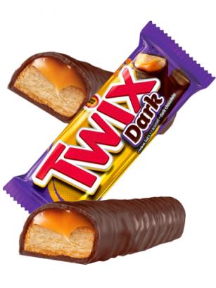 2 Barritas Twix de Chocolate Negro 50 grs