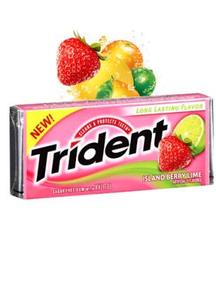 Chicles Trident Sin Azúcar de Fresa y Lima