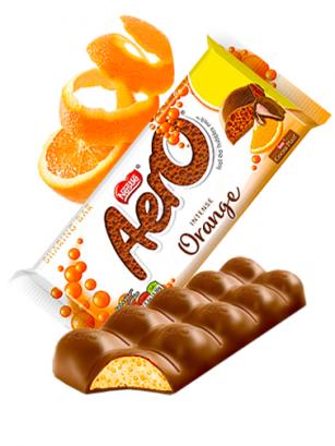 Chocolate Aero relleno de Mousse de Naranja 90 grs.