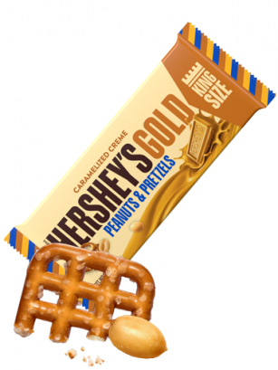 Chocolate Gold Hershey's con Pretzels y Cacahuetes 39 grs