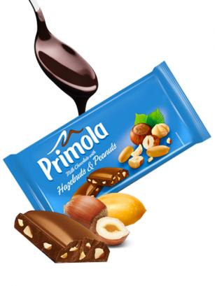 Chocolate Primola con Cacahuetes y Avellanas 80 grs