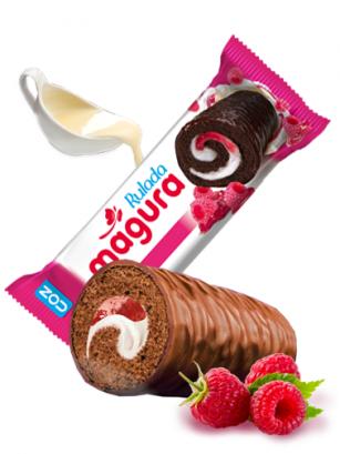 Cake Roll de Chocolate, Crema y Mermelada de Frambuesa 35 grs