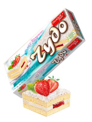 Pastel con Coco, Nata y Mermelada de Fresa 250 grs