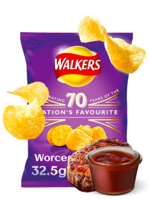 Patatas Fritas Walkers Lays Sabor Salsa Worcester 32 grs