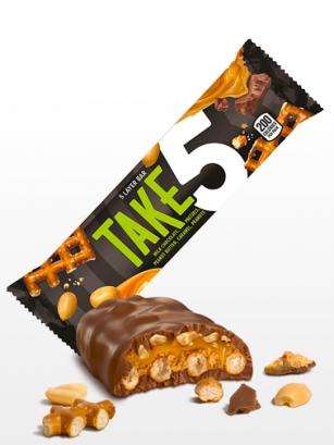 Barrita de Chocolate, Pretzel, Caramelo y Mantequilla de Cacahuete | Take 5