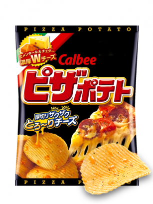 Patatas Chips Calbee Pizza con Queso Fundido 63 grs. | Japan Recipe