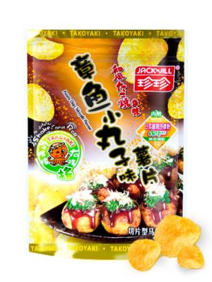 Patatas Chips Sabor Takoyaki con Salsa Takoyaki | Shake & Roll