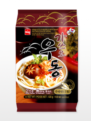 2 Raciones de Fideos Udon Coreanos Surimi & katsuobushi