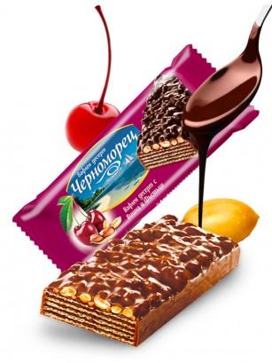 Barrita de Barquillo Chocolateada con Cereza y Cacahuetes 75 grs.