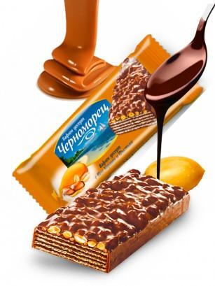 Barrita de Barquillo Chocolateada con Caramelo y Cacahuetes 75 grs.