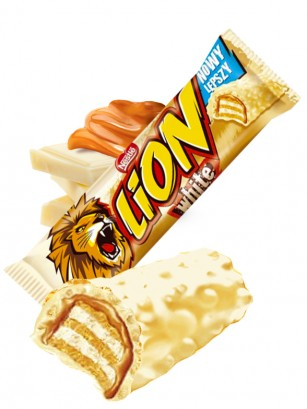 Barrita de Chocolate Blanco y Caramelo | Lion Nestle 42 grs