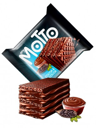 Waffers de Cacao rellenos de Crema de Chocolate | My Motto 34 grs