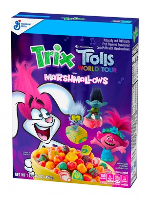 Cereales Puffs Sabor Frutas con Marshmallows | Trix Trolls World Tour 274 grs.