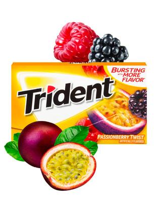 Chicles Trident Sabor Fruta de la Pasión, Frambuesa y Mora