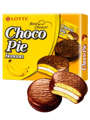 Choco Pie Coreano relleno de Crema de Banana | 12 Uds.