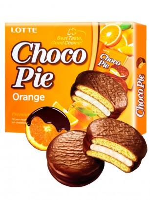 Choco Pie Coreano relleno de Crema de Naranja | 12 Uds