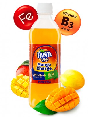 Fanta Funcional W+ Mango Charge | con Vitamina B y Hierro 490 ml