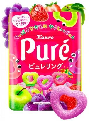 Corazones de Gominola Japonesa de Zumo de Uva, Manzana y Fresa | Pure Kanro 63 grs.