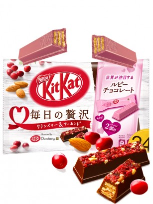 Mini Kit Kats de Arandanos Rojos y Almendras + 2 Mini KIt Kats Ruby | Chocolatory 109 grs