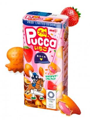 Meiji Pucca Galletas de Crema de Fresa | Ed. Tokio 2020 39 grs