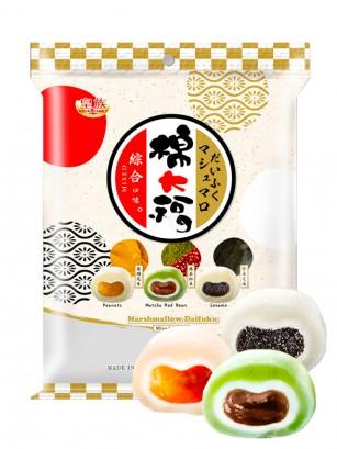 Nubes Daifuku Rellenas de Crema Cacahuete, Matcha-azuki, y Sésamo Negro 250 grs