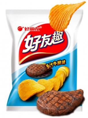 Patatas Chips Onduladas Coreanas Sabor Carne al Grill 45 grs