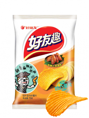 Chips Onduladas Coreanas Sabor a Alitas Fritas 45 grs