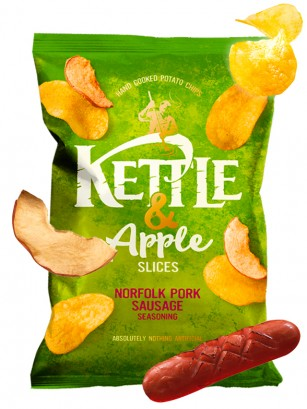 Patatas Kettle con sabor Salchicha de Cerdo y Rodajas de Manzana 100 grs | Pedido GRATIS!