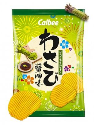 Patatas Onduladas Calbee Sabor Wasabi y Shoyu | 70 grs.