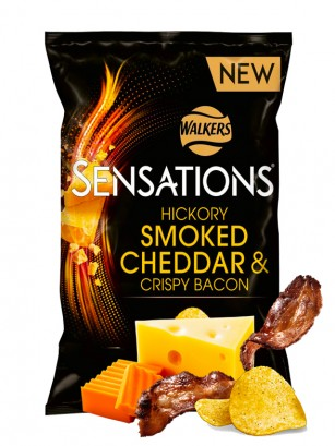 Chips Walkers Sensations Smoked Cheddar & Crispy Bacon 150 grs