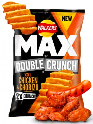 Patatas Fritas Onduladas Walkers MAX Double Crunch Pollo y Chorizo BIG 140 grs