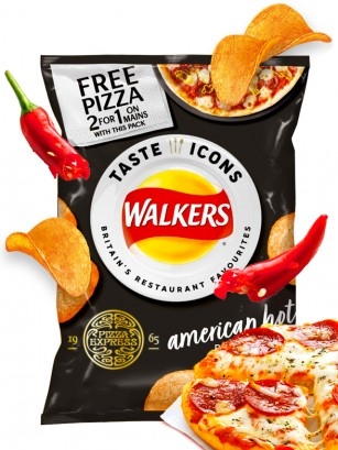 Patatas Fritas Walkers Lays Sabor American Hot Pizza | Snack Bag 25 grs.