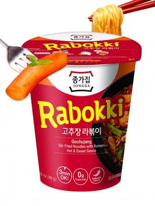 Fideos Ramen Coreanos estilo Topokki con Gochujang | Rabokki Cup 86 grs.