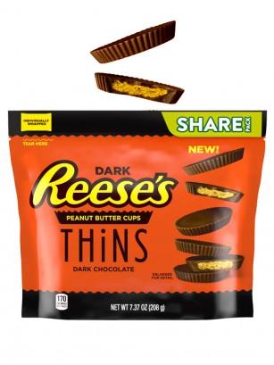 Chocolatinas Reese´s Thins de Chocolate Negro con Crema de Cacahuete 208 grs