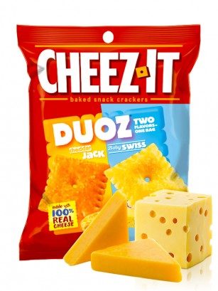 Galletitas de Queso Cheddar Jack y Baby Swiss | Cheez It DUOZ 122 grs