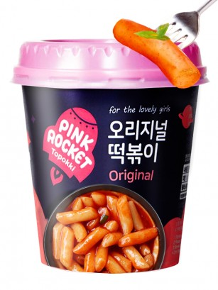 Yopokki | Mochis Coreanos Topokki Instantáneos con Tomate | Pink Rocket 120 grs.