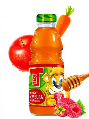 Zumo de Zanahoria, Manzana y Frambuesa con Miel 300 ml.